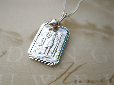 St Christopher necklace + heart ~ to wish travellers well