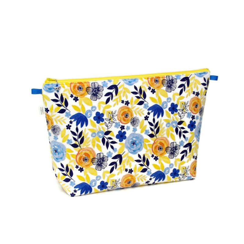 Watercolor Flowers - Yellow & Navy - Large Wedge