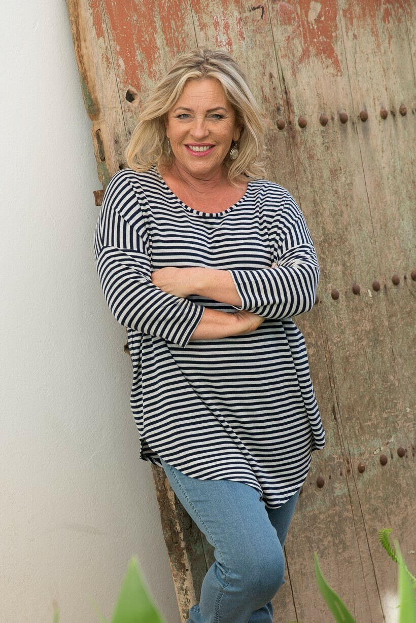 Kaley - Stripe Jersey Knit Top