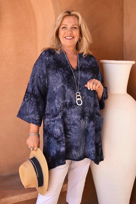 Trevia - Tie-dye Kaftan style tunic top