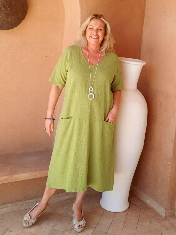 Rachel - A-Line Linen Dress with pockets