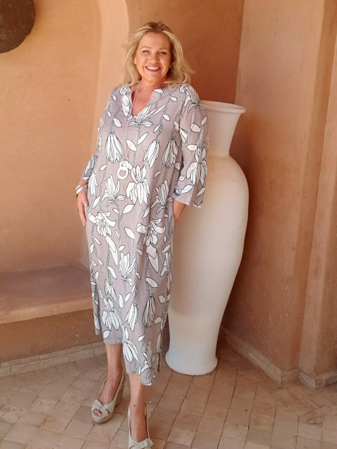 Renate - Floral Cotton-blend Kaftan Dress