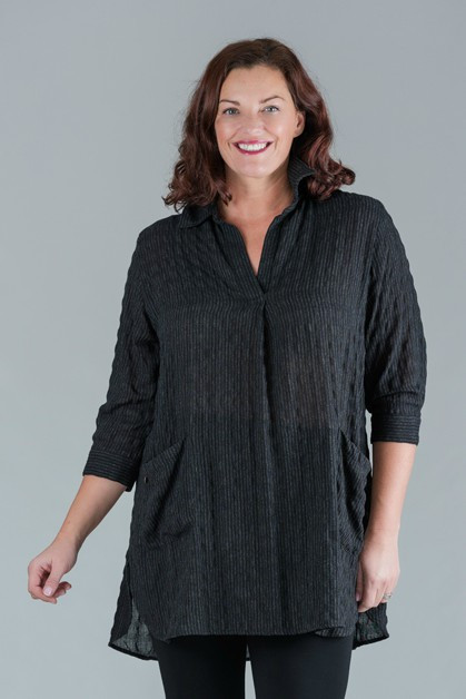 Trysta - 3/4 Sleeves Crinkle Weave Design Tunic