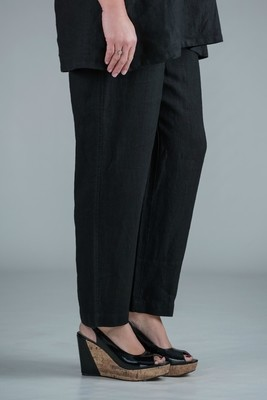 Pamela - Black linen trousers straight leg - Medium or short length