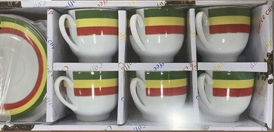 Ethiopian flag cup and plate (6 cup and plates)