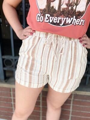 Mocha Stripe Linen Shorts
