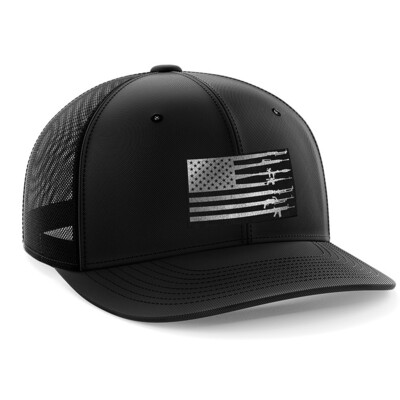 Hat - Black Leather Patch: Rifle Flag
