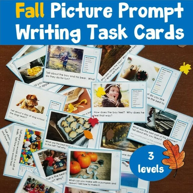 Picture Writing Prompt Task Cards Fall