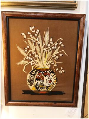 Mid Century Handmade Crewel Framed Wall Art
