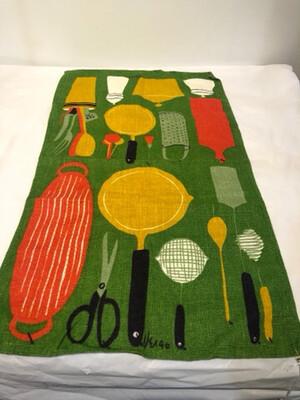 1960's Vera Neumann Cotton Linen Kitchen Towel