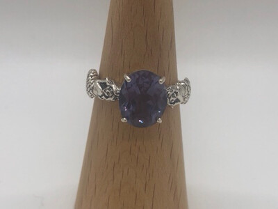 Sterling Silver Round Alexandrite Mermaid Ring