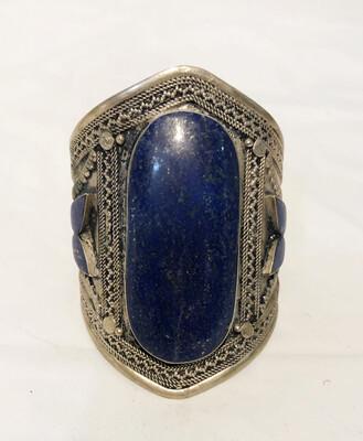 Lapis Cuff Bracelet In Tibetan Silver