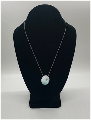 Larimar Doughnut On Sterling Silver Chain