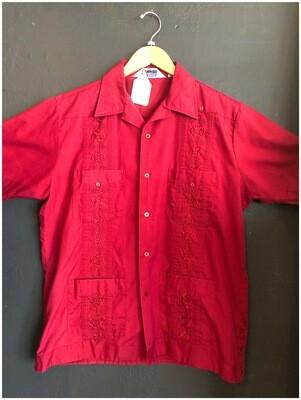 Vintage Men's Guayabera Red Shirt