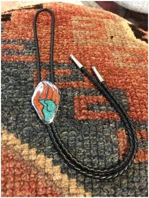 Vintage Turquoise And Red Coral Bolo Tie