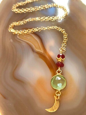 Handmade 14kt. Gold Filled Chain With Green Chalcedony Pendant Accented With Rubies & Gold Vermeil Brushed Gold Plated Petite Crescent Moon, 18""