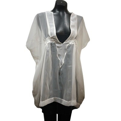 Modern White Sheer Bathing Suit Coverup Top