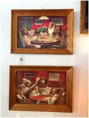 Vintage Framed Dogs Playing Dogs