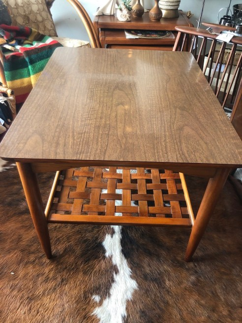 Mid Century Lane Altavista End Table With Cane Wood Shelf