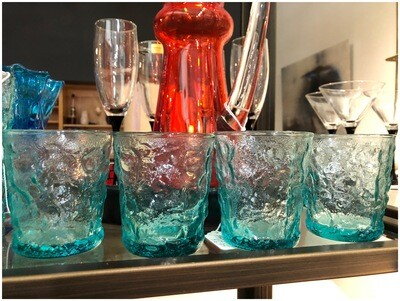 Vintage Aqua Lowball Glasses