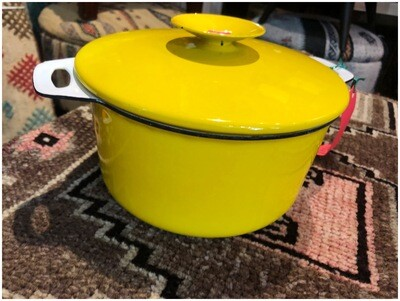 Mid Century Yellow Enamel Lidded Pot