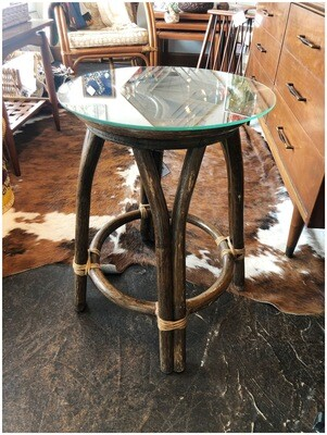 Vintage Glass Top Rattan Side Table
