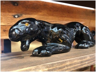 Mid Century Ceramic Black Panther Figurine