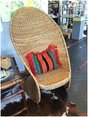 Vintage Curved Back Rattan Chair