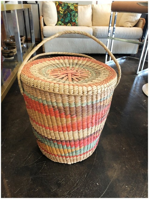 Vintage Woven Laundry Basket with Lid