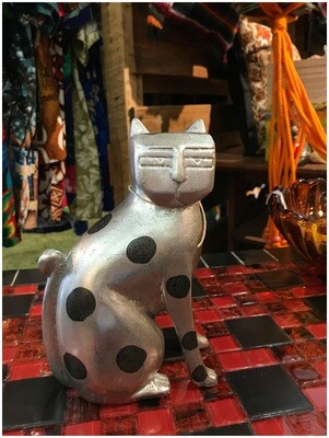 1970's Art Deco Silver Spotted Cat Figurine