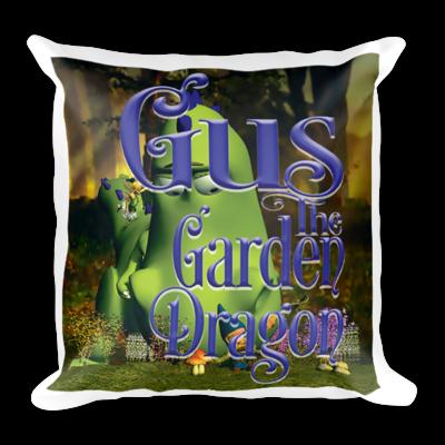 Gus the Garden Dragon Square Pillow