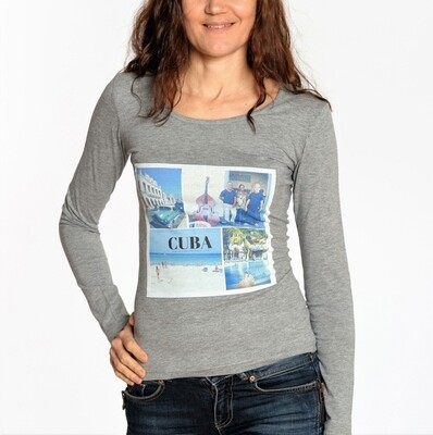 CUBA. Collage. Travel top grey