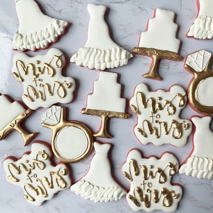 Wedding Themed Royal Icing Cookies