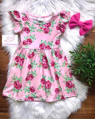 (162-1) Pink Floral Dress 12-18M