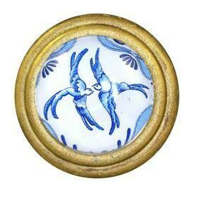 Charleston Knob Company  BLUE AND WHITE BIRDS SIGNATURE BRASS CABINET KNOB