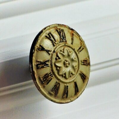 Charleston Knob Company VINTAGE WHITEWASHED CLOCK FACE CABINET KNOB
