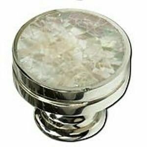 Schaub & Company Symphony  Mother of Pearl Collection Cabinet  Knob, Round, Mother of Pearl, Polished Nickel, 1-3/8