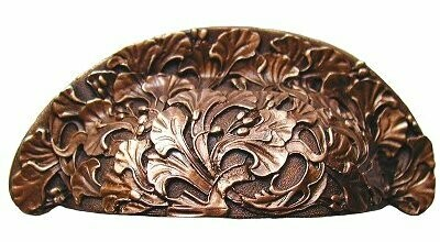Notting Hill Cabinet Bin Pull Florid Leaves Antique Copper 4-1/8