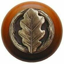 Notting Hill Cabinet Knob Oak Leaf/Cherry Antique Brass 1-1/2