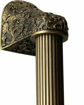 Notting Hill Cabinet Hardware Florid Leaves/Fluted Bar Antique Brass Overall 14