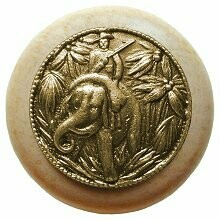 Notting Hill Cabinet Knob Jungle Patrol/Natural Antique Brass 1-1/2