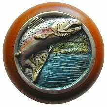 Notting Hill Cabinet Knob Leaping Trout/Cherry Pewter Hand Tinted 1-1/2