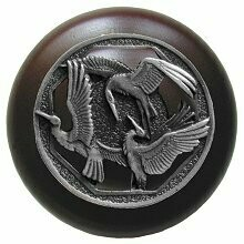 Notting Hill Cabinet Knob Crane Dance/Dark Walnut Antique Pewter 1-1/2