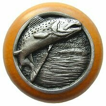 Notting Hill Cabinet Knob Leaping Trout/Maple Antique Pewter 1-1/2