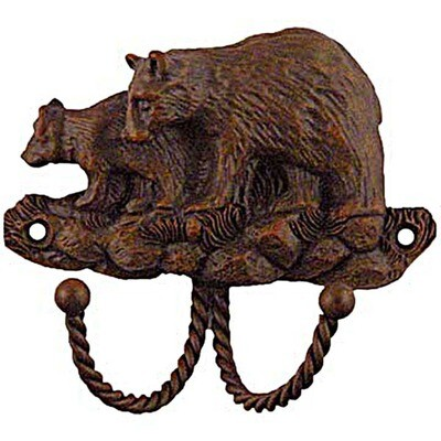Sierra Lifestyles / Big Sky Cabinet Hardware Decorative Hook - Black Bear - Rust
