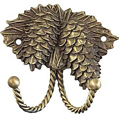 Sierra Lifestyles / Big Sky Cabinet Hardware Decorative Hook - Pinecone - Antique Brass