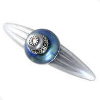 Susan Goldstick Duchess Turquoise  moonstone gray Cabinet Pull