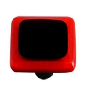 Hot Knobs Glass Cabinet Knob Black Brick Red Border