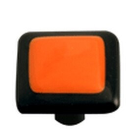 Hot Knobs Glass Cabinet Knob Black Border Opal Orange