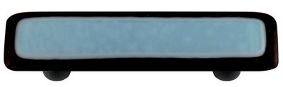 Hot Knobs Glass Cabinet Pull Black Border Powder Blue